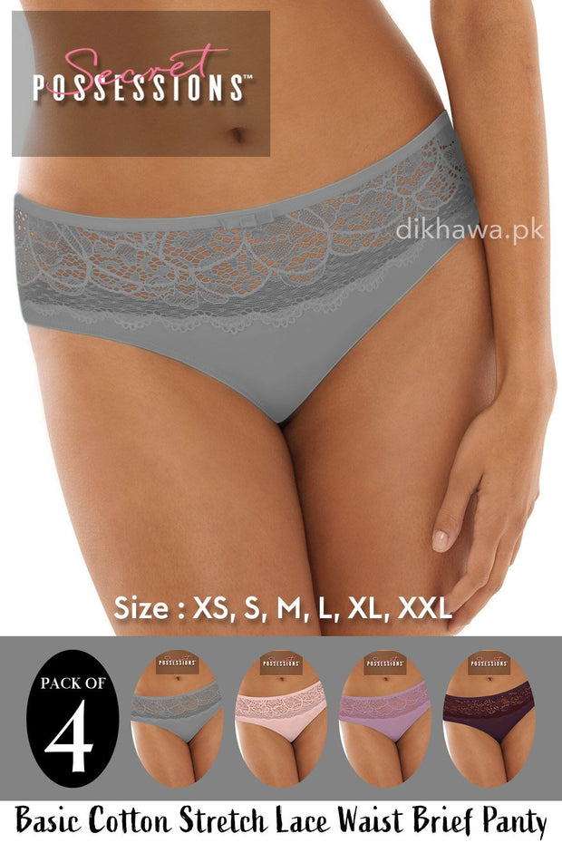 Buy Secret Possessions Panty - Basic Cotton Stretch Lace Waist Brief Panty Pack of 4 Online in Karachi, Lahore, Islamabad, Pakistan, Rs.1100.00, Ladies Panty & Thong Online Shopping in Pakistan, Secret Possessions, Brand_Secret Possessions, Clothing, Collection_2020, Collection_2021, Collection_Basic, Collection_Casual, Collection_Formal, Collection_On Sale, Collection_Semi-Formal, Colour_Black, Colour_Grey, Colour_Maroon, Colour_Navy Blue, Colour_Peach, Colour_Pink, Colour_Purple, Colour_Red, Colour_Sea Green, Colour_Sky Blue, Deal_Pack of 4, Lingerie & Nightwear, Material_Cotton, Panty, Panty & Thong, Size_Large, Size_Medium, Size_Small, Size_X-Large, Size_X-Small, Size_XX-Large, Style_Basic Panty, Style, Online Shopping in Pakistan - NIGHTYnight