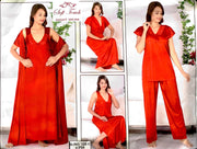 Soft Touch - 4Pcs Bridal Wedding Nighty Sets - 125 - Long Nighty with Gown & Sexy Pajama Set