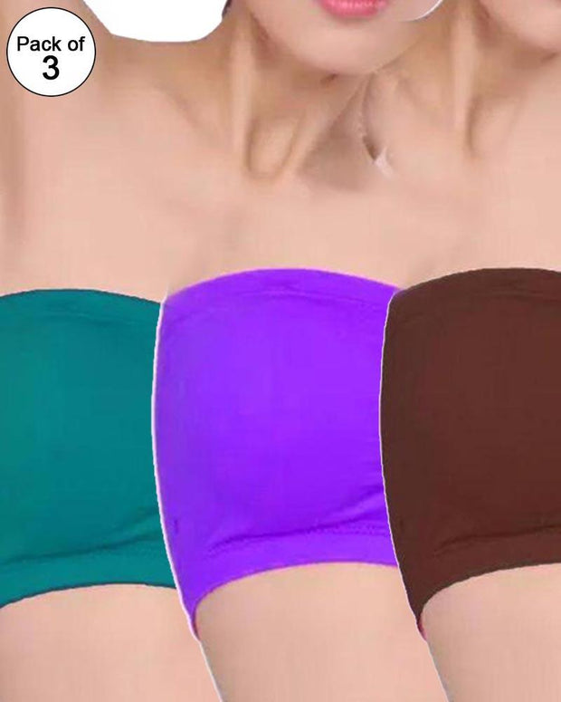 a289c97332964 Pack of 3 - Strapless Sports Bra - Soft   Non Padded Bra - Mix Colours
