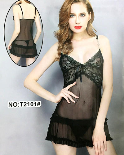 Women's Short Lace Lingerie Babydoll Sheer Gown Chemise Mesh Nightdress - T2101#