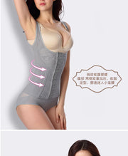 Front Open Pushup Figured Grey Body Suit Top Tummy Embroidered For Women