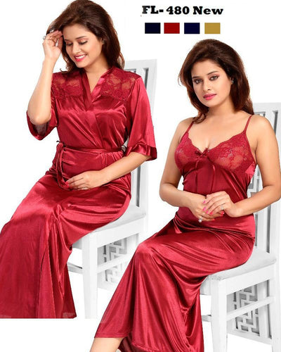2 Pcs FL-480 - Maroon Flourish Exclusive Bridal Nighty Set Collection
