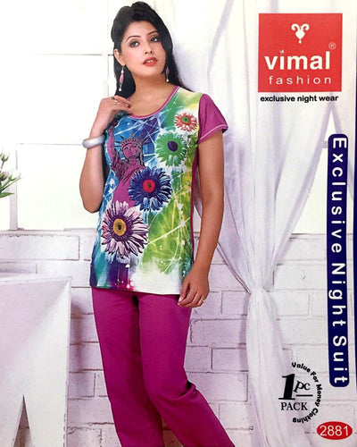 Vimal 2881 T-Shirt & Pajama Set - Premium Printed Women's Wear