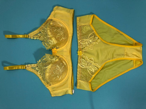 Yellow Bridal Bra Panty Sets - Non Psdded Underwired Bra Panty Set 2020
