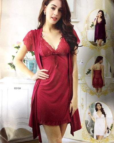 3 Pcs Sexy Short Nighty - 6518