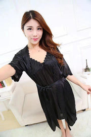 2 Pcs Satin Short Night Dress & Full Sleeves Robe - Black