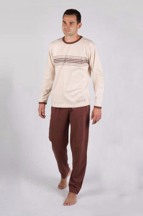 Dilios Branded T-Shirt & Trouser For Men's-Brown & Skin Combo Pack