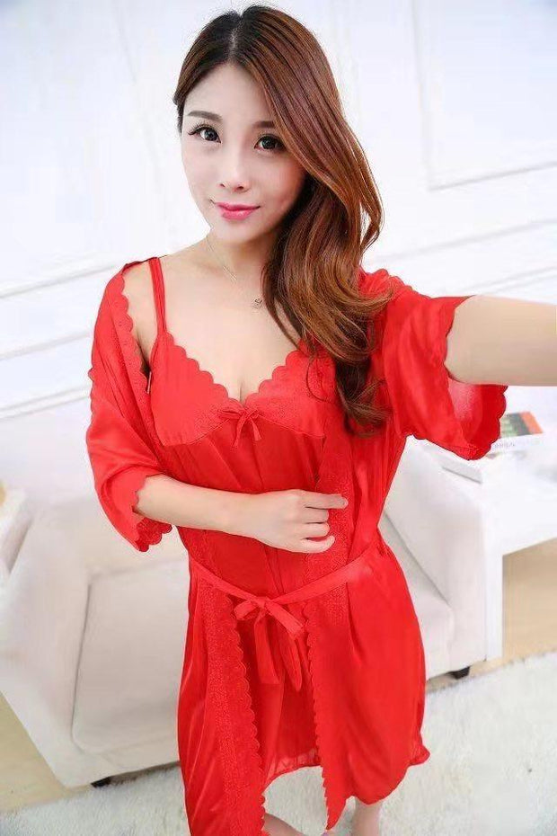 2 Pcs Satin Short Night Dress & Full Sleeves Robe - Rose Pink