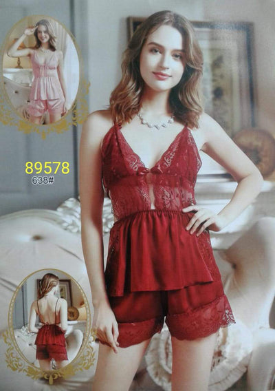 2 Pcs Sexy Short Nighty - Red
