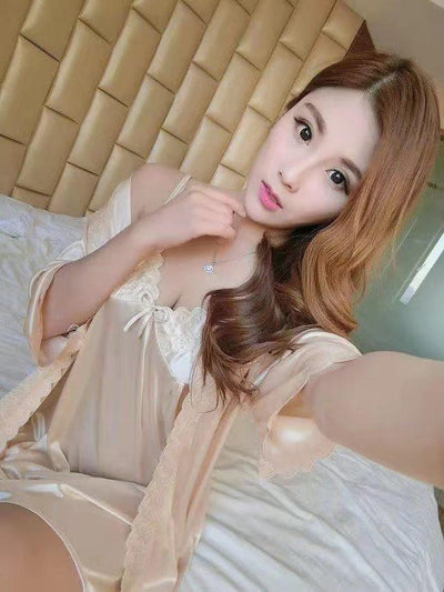 2 Pcs Satin Short Night Dress & Full Sleeves Robe - Golden
