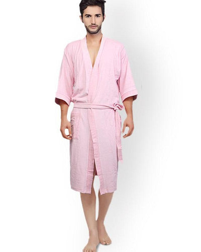 Mens Bathrobe Soft Cotton - Pink