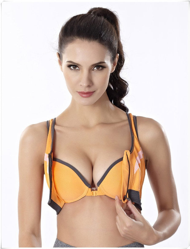 Ladies Workout Bra - Sports Bra - Orange Zipper Sports Bra - Padded Sports Bra