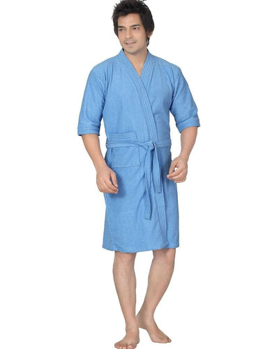 Mens Bathrobe Soft Cotton - Blue