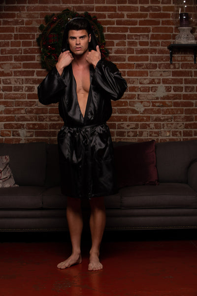 NICHOLAS HOODED SATIN ROBE