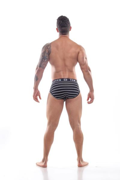 PETER BRIEF RIBBED STRIPED BLACK WHITE