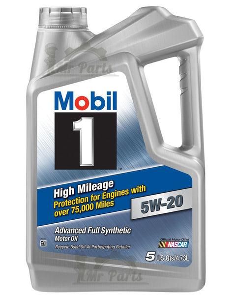 Mobil 1 5W-20 High Mileage Fully Synthetic Engine Oil 5-Quarts