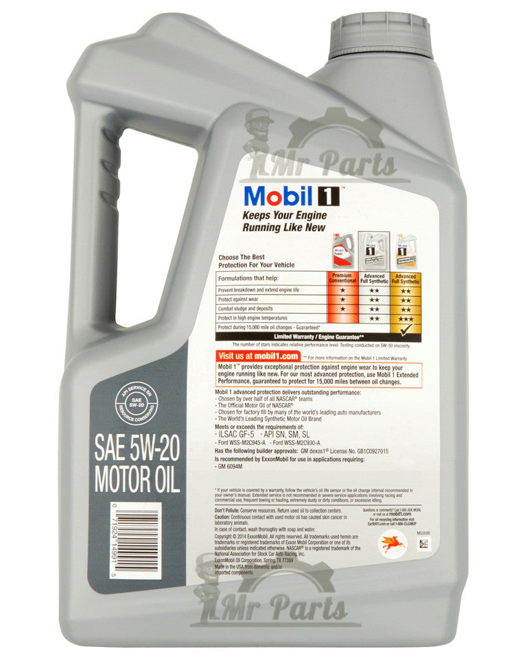 Mobil 1 5W-20 Fully Synthetic Motor Oil 5 Quarts