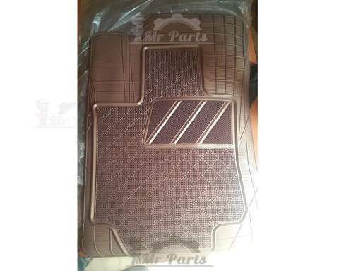 Universal 4 Piece Quality Rubber Car Floor Mats with Smooth Brush Surface - Brown
