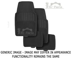 Universal 4 Piece Rubber Car Floor Mats - Black