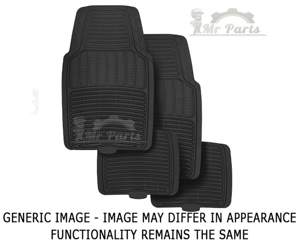 Universal 4 Piece Leather/Fibre Car Floor Mats - Black
