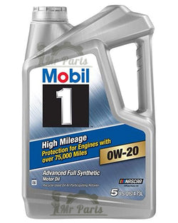 Mobil 1 0W-20 High Mileage Fully Synthetic Engine Oil, 5 Quarts