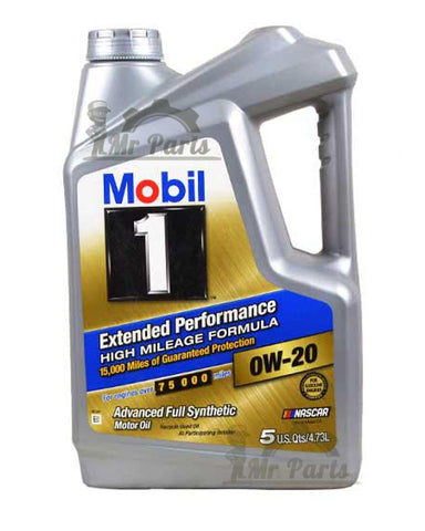Mobil 1 0W-20 Extended Performance High Mileage Formula Advanced Full Synthetic Engine Oil, 5 Quarts