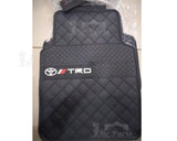 Toyota TRD Branded 4 Piece Rubber Car Floor Mats - Black & White
