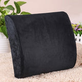 Memory Foam Lumbar Back Support Cushion - Black