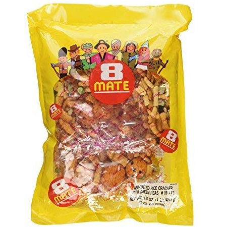 Rice Cracker 8 MATE MIX Arare 16oz Yellow