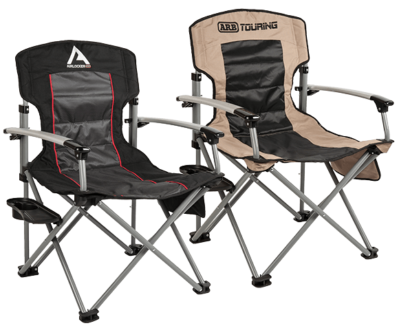 ARB AIR LOCKER CAMP CHAIR WITH SIDE TABLE -BLACK - Free Shipping on orders over $100 - Venture Overland Company