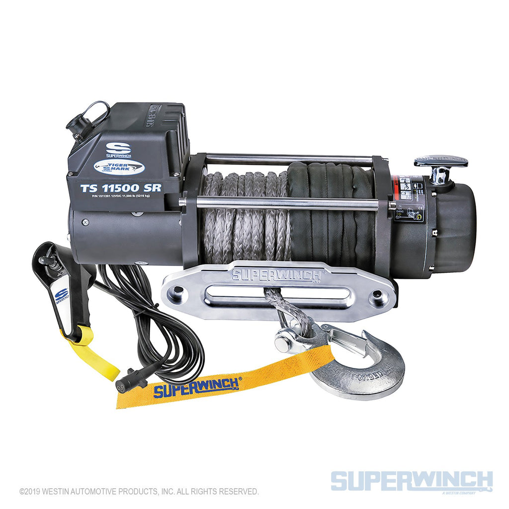 SUPERWINCH TIGER SHARK 11500SR 12V WINCH - SYNTHETIC ROPE - 1511201 - Free Shipping on orders over $100 - Venture Overland Company