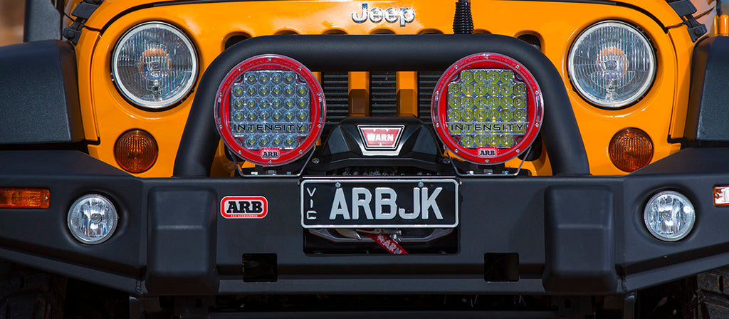 ARB JEEP JK WINCH BUMPER OE FOG W/CRUSH CANS TEXTURED - Free Shipping on orders over $100 - Venture Overland Company
