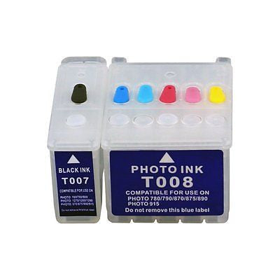 T007 T008 empty REFILLABLE ink cartridges for Epson Stylus photo 780 785EPX 825