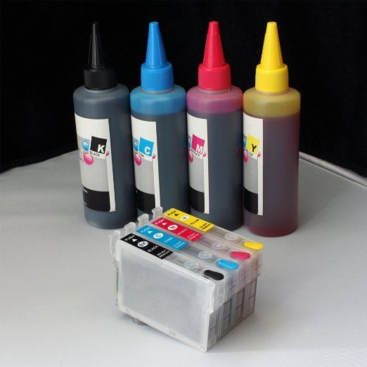Refillable cartridge 252 w/ 400ml Pigment Sublimation ink 4 Epson workforce wf-7110 wf-7210 2 blacks
