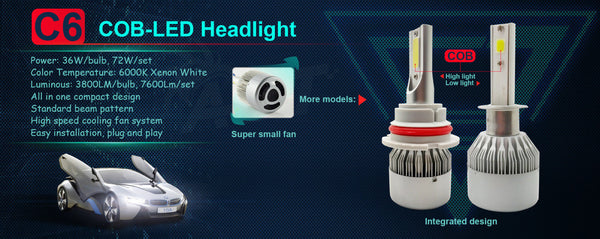 72w H11 LED Headlight Bulbs Pair White Light fits some Acura Audi Buick Cadillac