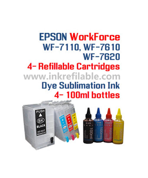 Dye Sublimation Ink Package (convert your printer to sublimation printer) for Epson WorkForce WF-7110 WF-7610 WF-7620 printer Refillable ink cartridge package - 4 multi-color bottles 100ml each color and 4 Refillable ink cartridges (252XL 252 XL)