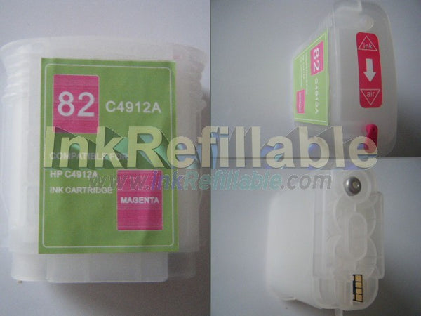 Refillable 82 C4912A magenta ink cartridge for HP Designjet 10ps 120 20ps 50ps 500 plus 500ps 510 510ps 800 800ps 815 printer