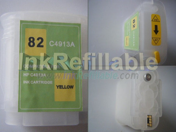 Refillable 82 C4913A YELLOW ink cartridge for HP Designjet 10ps 120 20ps 50ps 500 plus 500ps 510 510ps 800 800ps 815 printer