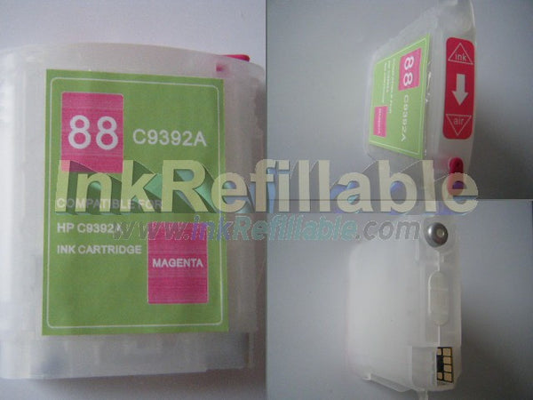 Refillable HP #88 C9387AN C9392AN magenta cartridge w/ ARC