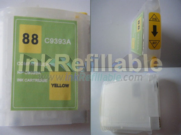 Refillable HP #88 C9388AN C9393AN yellow cartridge w/ ARC