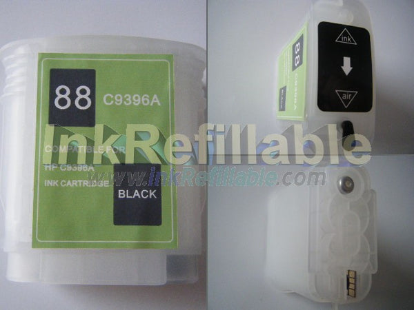 Refillable HP #88 C9385AN C9396AN black cartridge officejet pro