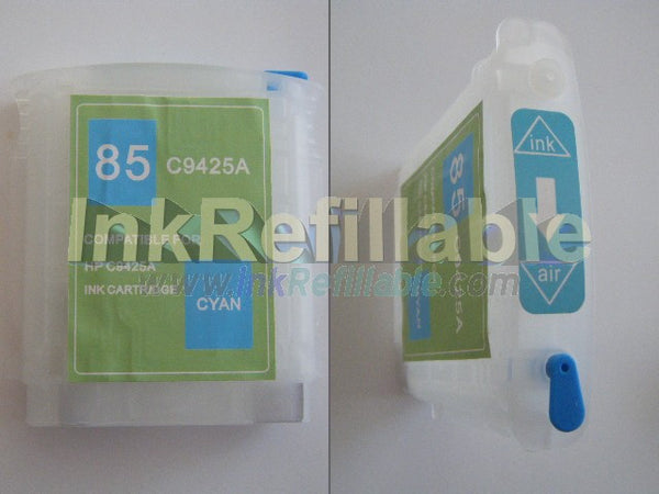 Refillable 85 cyan ink cartridge C9425A for HP Designjet 130 130gp 130nr 30 30n 90 90gp 90r series