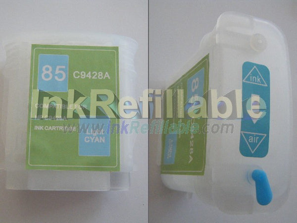 Refillable 85 light photo cyan ink cartridge C9428A for HP Designjet 130 130gp 130nr 30 30n 90 90gp 90r series high yield