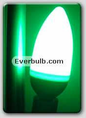 Green 0.5W 5 LED light bulb mini candelabra screw base