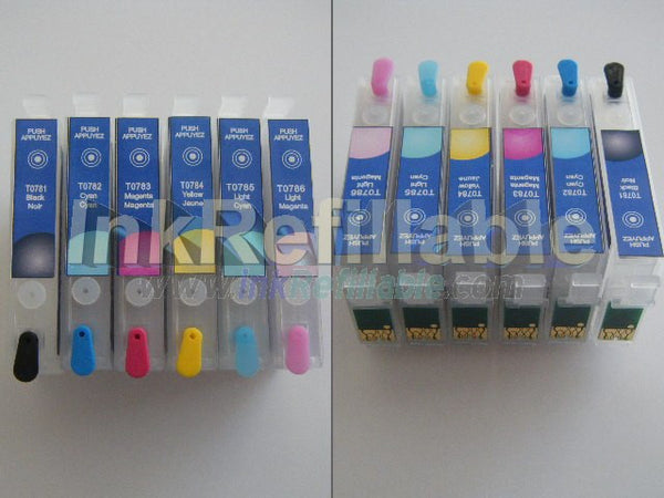EMPTY Refillable cartridges T0781~6 inks for Epson Artisan 50 inkjet stylus photo R260 R280 R380 RX580 RX680 RX595 AIO printer