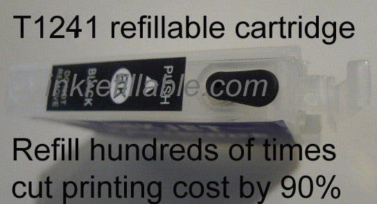 Epson T124120 T1241 124 black refillable ink cartridges for stylus NX125 NX127 NX130 NX230 NX420 workforce 320 323 325 435 AIO
