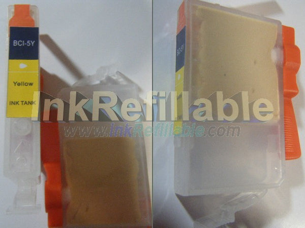 Refillable compatible Canon BCI 5Y Yellow Cartridge