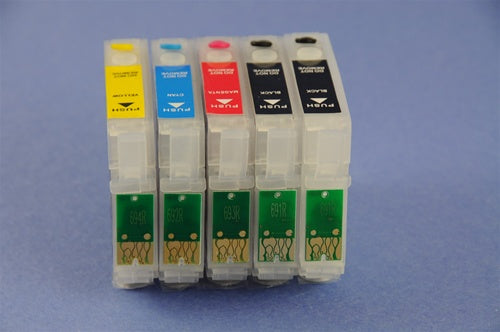 Refillable ink cartridge 68 / 69 twin black cyan magenta yellow for Epson workforce 30 310 1100 printers AIOs