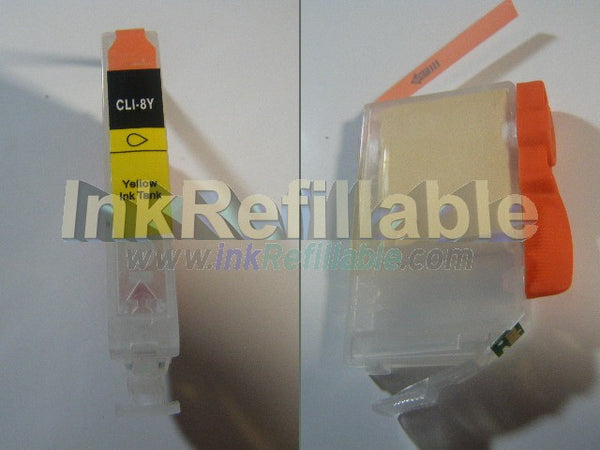 Refillable compatible Canon CLI-8Y Yellow Cartridge w/ Chip