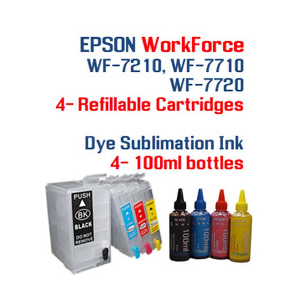 Dye Sublimation Ink WorkForce WF-7110 WF-7210 WF-7710 WF-7720 printer Refillable cartridges w/ 400ml
